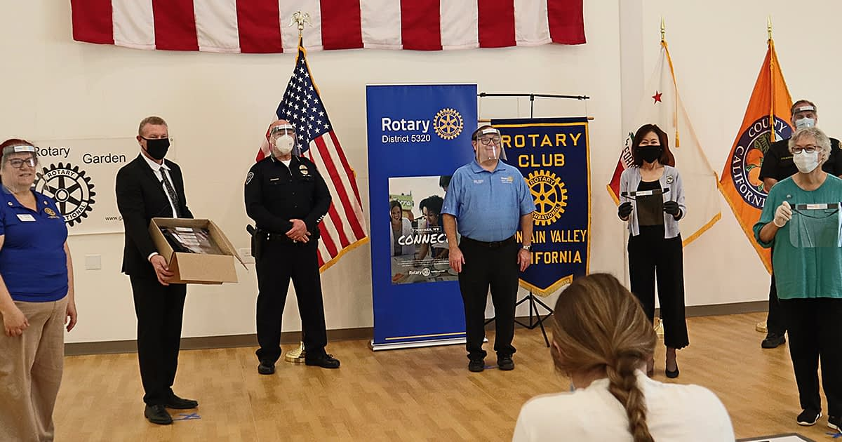 Fountain Vallery rotary members assembling face shields