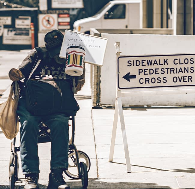 Homeless man in America during the Covid-19 pandemic