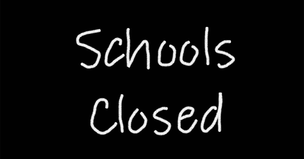 schools closed sign