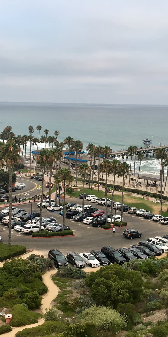 parking lot overlooking san clemente beach in california