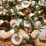 Pizza with Shrimp, Calamari, Shallots, Garlic, Tomato Sauce, 6 Italian Cheese Blend and Fresh Basil