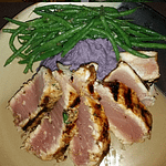 Fresh abacore marinated in a mediterranean vinaigrette featuring pommegranate molasses, sumac and aleppo pepper served atop roasted garlic and parmesan purple peruvian potatoes with harrison verts in a french vinaigrette with shallots and dill. It's all paired with a new zealand sauvignon blanc.