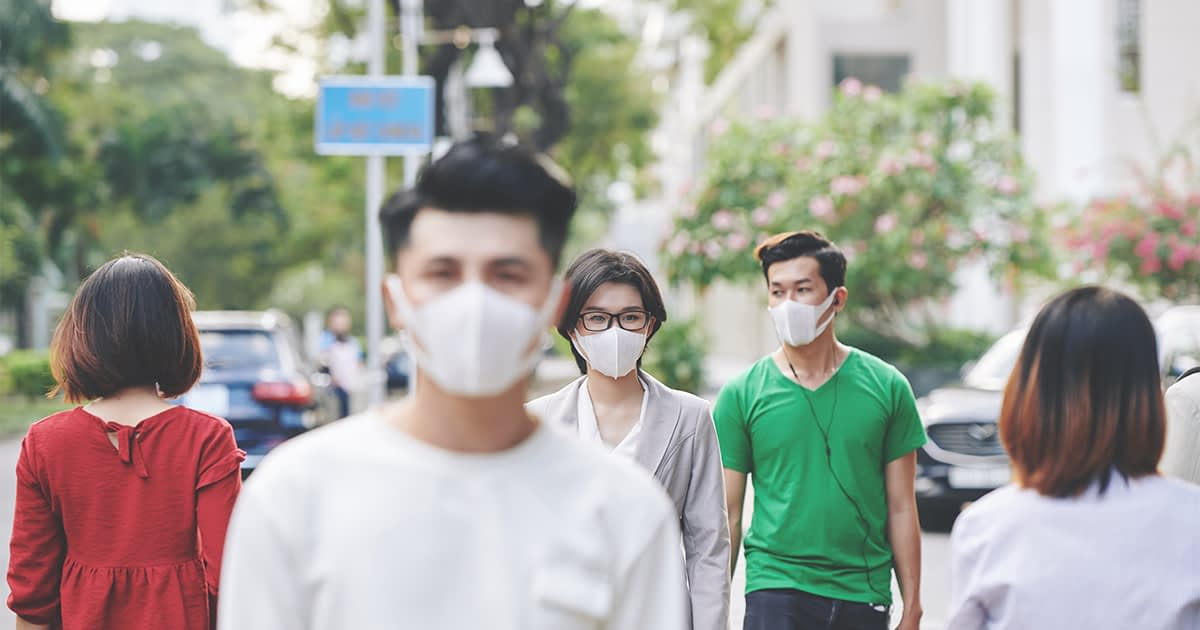 People wearing face masks in public.