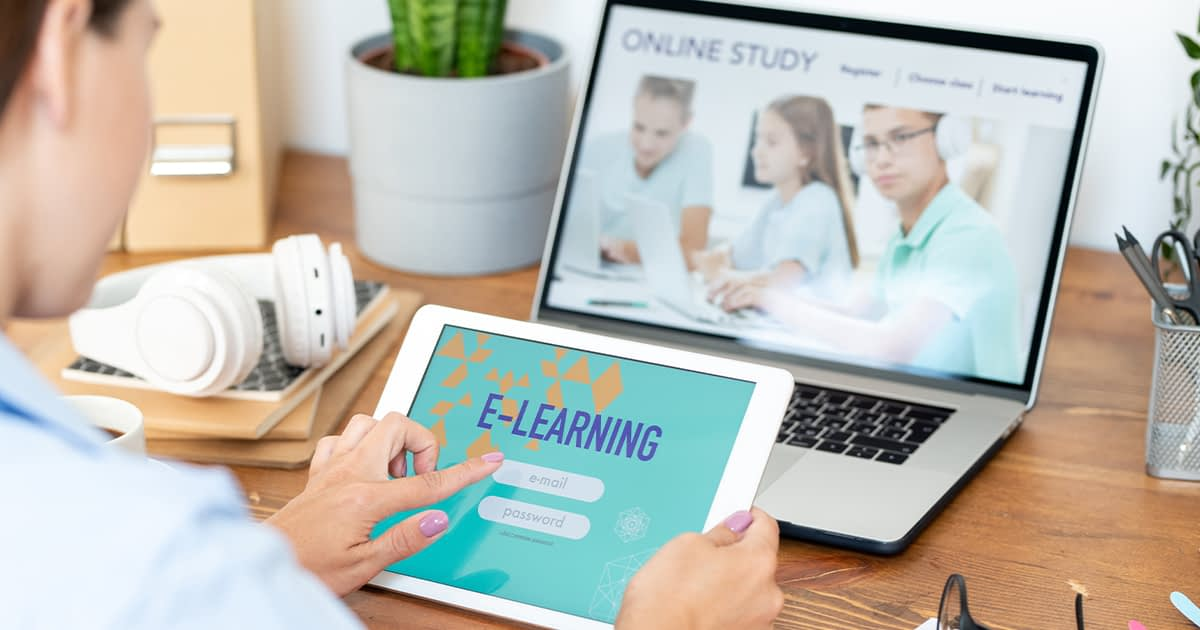 student using e-learning and online classes