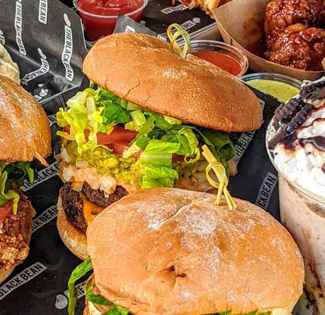 vegan burgers, milkshake, quesadilla